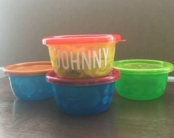 personalized snack containers - personalized snack - snack bowl - snack container - snack time - toddler snack - toddler container