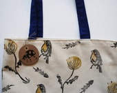 Block Printed Robin Dandelion Pattern Tote Bag // Canvas, Yellow & Blue
