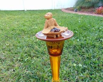 Rainforest Monkey glass garden totem