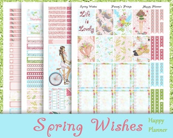 SALE~Spring Wishes~Printable Happy Planner Stickers Spring Weekly Kit For The MAMBI Classic Happy Planner