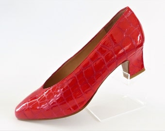Walkers Red Patent Leather Crocodile Style Medium Heel Court Pumps Shoes/Size UK 5.5/Retro Shoes/1990s
