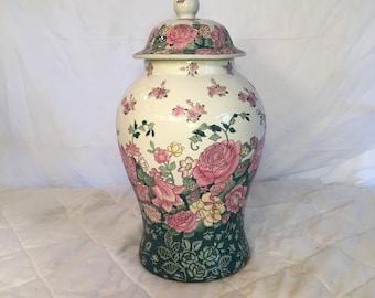 Decorative Asian Ginger Jar, Chinese Floral Motif Ginger Jar, Floral Engraved Ceramic Jar, Fine Ceramics, Decorative Vase, Lidded Vase
