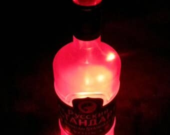 Russian Standard Upcycled Vodka Battery Powered Red LED Light Lamp (1L)
