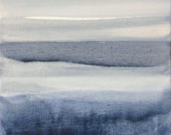 BLUE CURIOSITY - Horizon Collection, Original Artwork on Canvas by Sandra Shebitz, Swea Gallery