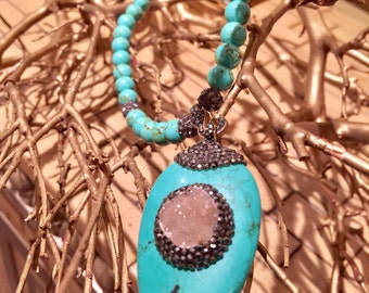 Turkish Handmade Turquoise Pendant Necklace