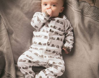 L'oved Baby Snail Organic Footed Overall