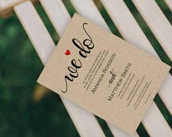 Kraft Wedding Invitation - Printable Wedding Invitations - Editable Text- Wedding Invites - Downloadable Wedding #WDH0174