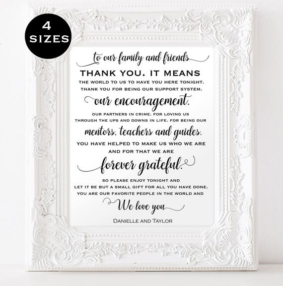 Thank you sign for wedding Instant Download