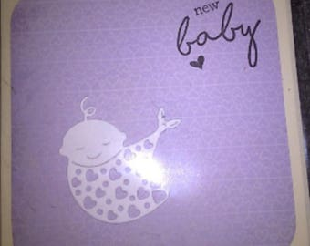 New Baby Card Purple White Neutral Charity