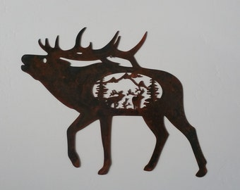 Elk with elk scene metal art, elk metal art, wildlife metal art, wildlife home decor, elk home decor, elk wall hanging