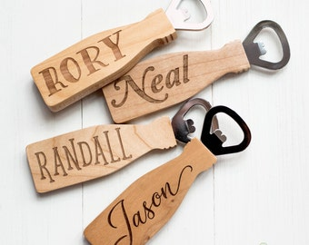 Wood Bottle Opener, Gift for Groomsman, Best Man, Father, Brother, Best Friends - Wedding Favor, Bridal Party, Bachelor Party Gifts