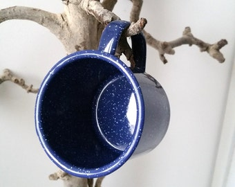 Awesome old blue enamel cup