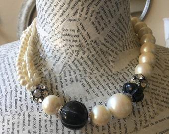 Pearl Rhinestone Black Bead Necklace
