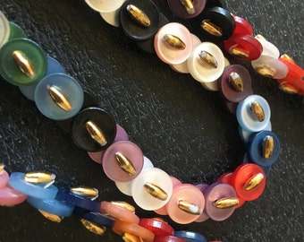 Multi color button Necklace