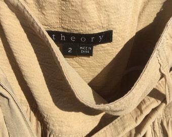 Theory calf-length tan skirt