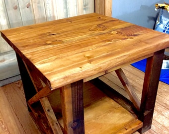 Rustic Farmhouse X  End Table - Living room table - Rustic Side table
