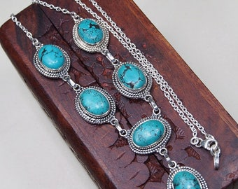 Gemstone Turquoise Necklace -Turquoise and Sterling sliver Retro Necklace- December Birthstone -Gemstone-Dainty Necklace X1171