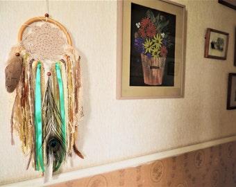 Handmade Boho Dreamcatcher with feathers/ bohemian wall decor/room decor/gift idea/hippie-bohemian style
