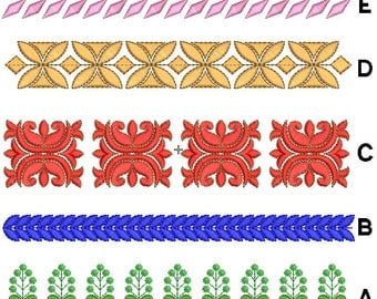 set of 5 laces machine embroidery designs, border embroidery design, sale embroidery design,paadar club
