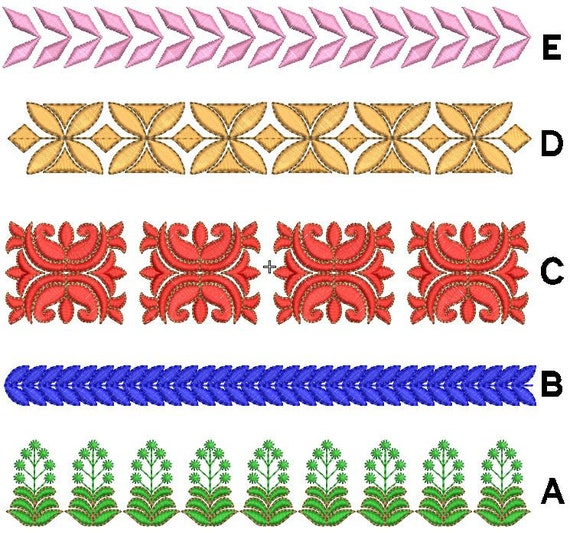 Set of laces machine embroidery designs border
