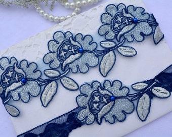 Wedding Garters, Navy Blue Garter, Lace Garter Set, Lingerie Garter, Wedding Garter, Bridal Garter,Garter, Blue Lace Garter, Handmade Garter