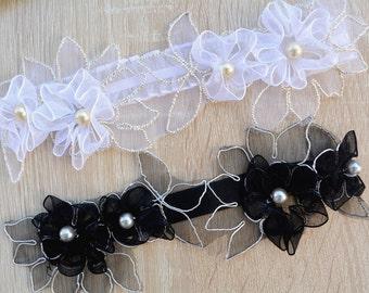 Black Garter Ivory Lace Set Lingerie Garters Wedding