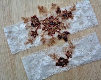 Off White And Brown Garter, Wedding Garter Set, Bridal Garter Set, Garter White, Wedding Lingerie, Lace Garter, Wedding Garter, Bridal Gift