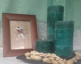 Teal Pillar Candle Set