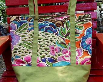 Shopping bag , Zen Garden print with green bottom and straps