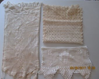 Three vintage crochet doilies