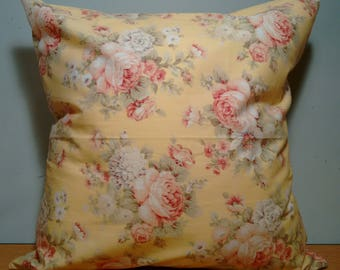 ON SALE NOW Yellow Victorian Floral Throw Pillow Cover