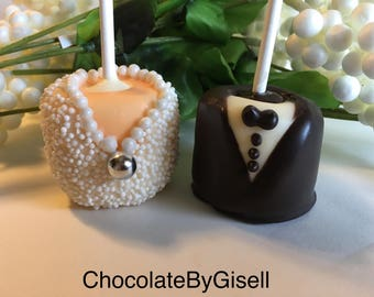 Bride And Groom Chocolate Covered Marshmellows