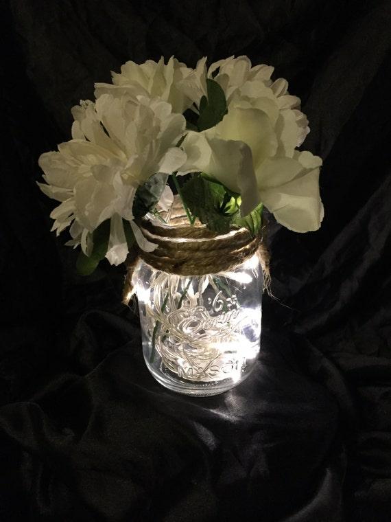 lighted flowers mason jars