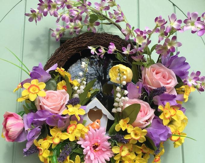Birdhouse Spring Easter wreath