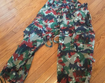 Adjustable Waist Swiss Army Alpenflage Camouflage Trousers(Waist 32-38)