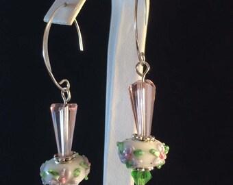 Sterling earwire, pink & green flower bead, earrings