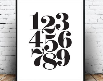Numbers Print, Modern Print, Monochrome Print, Typography Numbers, Affiche Typographie, Scandinavian, Black And White, Digital Download