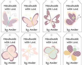 Pink and Purple Butterflies Gift Tags- PDF File