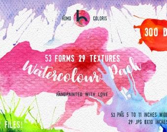 Watercolour Clip Art set, Splatters, Blobs, Shapes, Textures, Printable, Commercial Use, Big Bundle Deal