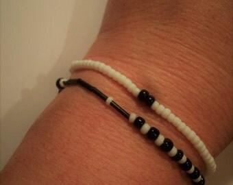 Bracelet Black White Black White, set of 2, with pearls, Bracelet Black and white, set of 2