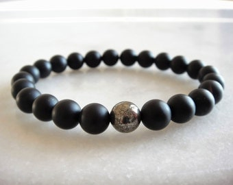 Mens beaded black onyx bracelet with pyrite gemstone