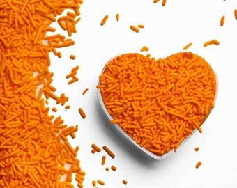 Orange Crunchy Jimmies™, crunchy sprinkles, skinny sprinkles, sugar strands, Fancy Sprinkles, orange sprinkles, orange jimmies
