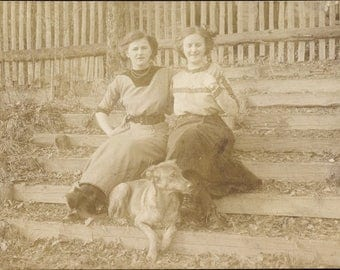 MINT Real Photo Postcard 1910s of Two Young Women With Their DOGS; Sisters, WEIMARANER & Little Dog