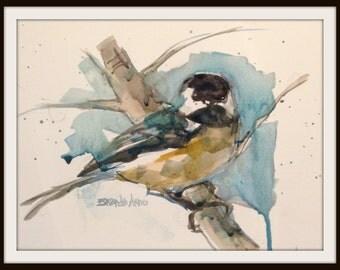6 x 8 Chickadee Watercolor Print, 6  x 8 Chickadee Print, Small Watercolor Chickadee, Chickadee Watercolor Print, Brande Arno Painting