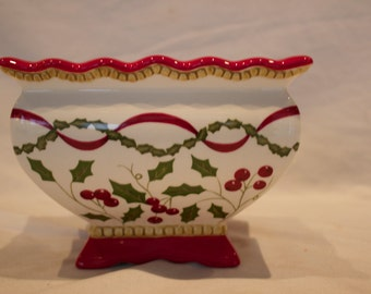 Laura Ashley Christmas Holiday Holly Bowl Centerpiece Planter Vase FTD