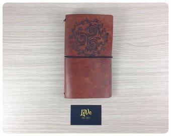 LoVedori Triskele-Travelers notebook, Midori TN, Fauxdori, Journal-B6 traveler, Field Notes, Regular, Personal, A6, A5-Bull leather