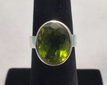 Peridot ring set in sterling silver - Free shipping - turningleafjewelryco - August birthstone - bridal party gift - one of a kind ring