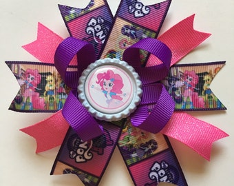My Little Pony Equestria Girls Hairbows- My Little Pony Hairbows- My Little Pony Bow- Esquestria Girls Hairbows- Pony Hairbows- Pinkie Pie
