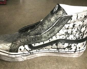 Custom Hand Painted Vans Shoes Silver Metallic Paint Splatter