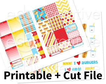 Sale - 25% Off! Burgers and Fries - Printable Sticker Kit for Erin Condren Horizontal - HWK-007 - INSTANT DOWNLOAD